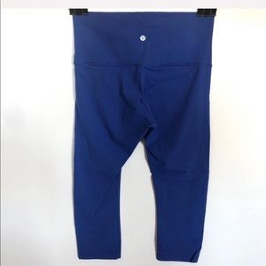 Lululemon Blue Wunder Under Hi-Rise Crops